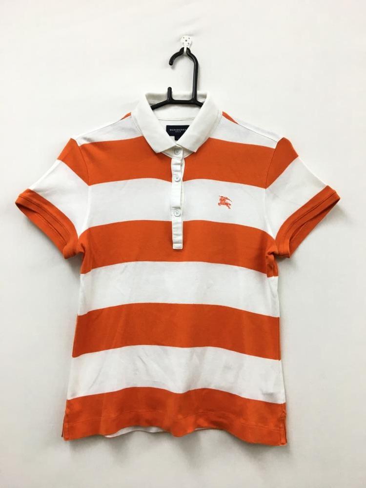 64dbe5b8f7155 BURBERRY GOLF バーバリーゴルフ 半袖ポロシャツ 白×オレンジ ボーダー レディース 2 ゴルフ E