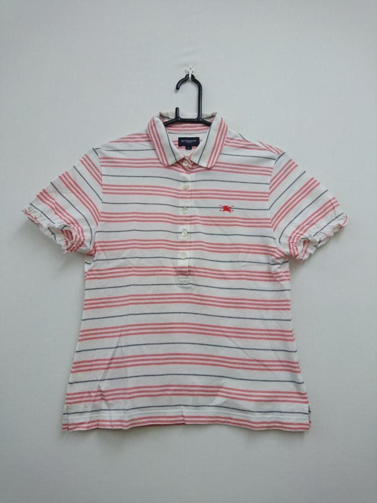 2355f05e2e93d BURBERRY バーバリーゴルフ 半袖ポロシャツ 白×レッド×ネイビー ボーダー レディース E