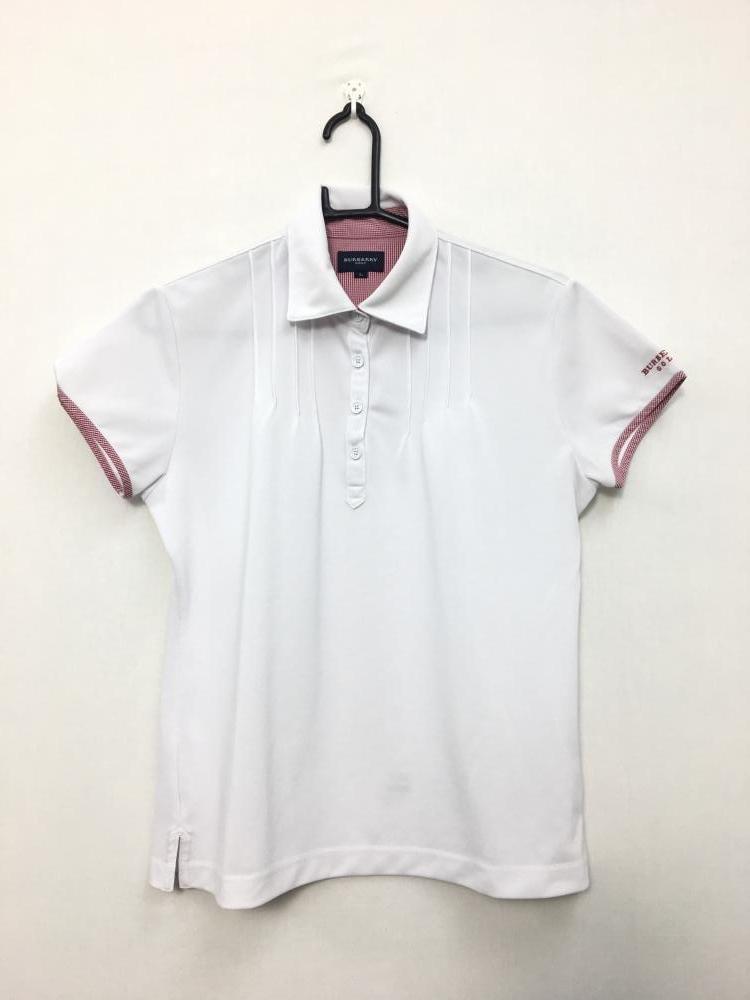 f4e2e28c30f11 BURBERRY バーバリーゴルフ 半袖ポロシャツ 白×レッド 一部チェック柄 レディース L ゴルフウェア r13 - 中古ゴルフ ウェア通販サイトReonard(レオナード)